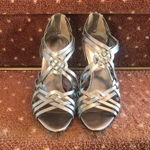 Enzo Angiolini Silver Strappy Heels